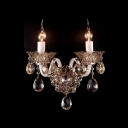 Magnificent Brilliant Double Candle-style Light Crystal Wall Sconce with Elegant Scrolling Arms