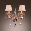 Lavish Elegant Wall Sconce Completed with Two Orange Fabric Shade and  Amber Crystal Droplets