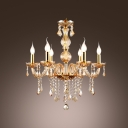 Elegantly Golden 6-Light  Hand-Formed Crystal Arms Chandelier Ceiling Lighting
