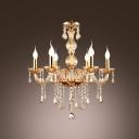 Elegantly Golden 6-Light  Hand-Formed Crystal Arms Chandelier Ceiling Lighting