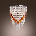 Chrome Finished Frame Reinforces Crystal Wall Sconce Look of  Contemporary Elegance