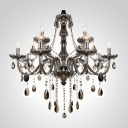 12-Light Brilliant Smoky Crystal Waterfall Large Dining Room Chandelier