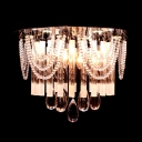 Hanging Clear Crystal Strands and Finely Hand Cut Crystal Droplets Splendid Flush Mount