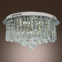 Gracefully Stainless Steel Round Canopy Flush Mount Hanging Clear Crystal Prisms and Balls