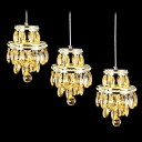 Stunning Golden Multi-Light Ceiling Pendant Light Features Dazzling Crystals and Delicate Chrome Finish