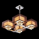 Glistening Four Light Pendant Light Completed with Mysterious Black Shades Creating Contemporary Embellishment