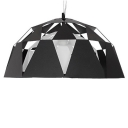 Metal Hollow-Out Pendant Light In Downward Dome Shape