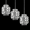 Beautiful Contemporary Multi-Light Pendant with Three Lights Features Hand-cut Clear Crystal Falls