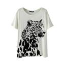 Cream Background Black Leopard Print T-Shirt
