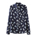 All Over Flying Bird Print Midi Shirt