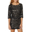 Gold Curve Sequins Insert 1/2 Sleeve Slim Elastic Mini Black Dress