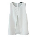 Round Neck Plain Front Split Pleated Detail Sleeveless Blouse