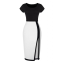 Side Split Color Block Short Sleeve Pencil Dress