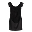 Black Open Back Short Sleeve Tassel Panel Skinny Dress