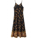 Black Background Tribal Pattern Print Slip Maxi Dress