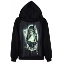 Horror Witch Print Black Hoodie