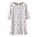 Lace Outside Floral Print Inside Round Neck 1/2 Sleeve Dress