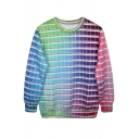 Checkered Color Chart Print Sweatshirt