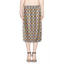 High Waist Kaleidoscope Pattern Print Pencil Skirt