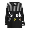 Stripe&Letter&Cartoon Applique Longline Sweatshirt