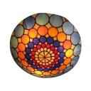 Three Light Tiffany Flush Mount Light Fixture with Colorful Shape