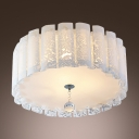 Elegant Drum Acrylic Shade Flush Mount Ceiling Light with Single Crystal Strand
