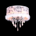 Chic and Soft White Shade Chandelier in Modern Crystal Accent Style with Hairy Trim