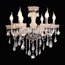All Clear Crystals Six Candle Lights Glittering Chandelier for Living Room