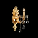 Lavish Gold Wall Light Fixture Offers Exquisite Delicate Back Plate and Clear Hand-cut Crystal