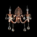 Antique Red Strolling Arms and Clear Crystal Droplets Formed Elegant Rgal Wall Sconce
