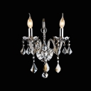 Beautiful Polished Silver Crystal Add Glamour to Splendid Two Light Wall Scocne