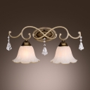 Warm Clear Crystal Beautiful Complements Beige Glass and Iron Frame of Elegant Wall Sconce