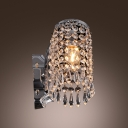 Sophisticated Decor with Brilliant Single Light Crystal String Wall Light Fixture.