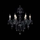 Black Crystal Beads Cascades Beautiful and Elegantly Chandelier Light