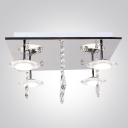 4-Light Sparkling Crystal Strands and Droplets Disc Shade Flush Mount Ceiling Lights