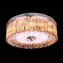 Stunning Crystal Glass Rods Falling Round Flush Mount Accented by Crystal Balls