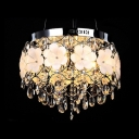 White Flower Details metal Web Shade Faceted Crystal Droplets 12.6