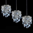 Beautiful Blue Crystal Beads and Chrome Finish Detailing Add Mystery to Graceful Multi-Light Pendant