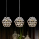 Bold Design and Crystal Beaded Shaded Multi-Light Pendant Light Shine with Elegant Crystals