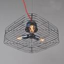 Industrial Black Cage Basket Three-light Pendant