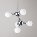 DNA Chrome Pendant Light White Shades Five-light