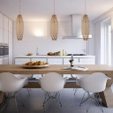 "Modern and Graceful Wood 19.6""High Beautiful Designer Pendant Light"