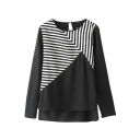 Black Asymmetric Stripe Panel Step Hem Blouse
