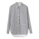 Vertical&Horizontal Stripe Print Single Pocket Shirt