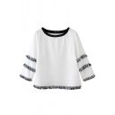 White Tassel Detail 3/4 Sleeve Round Neck Crop Top