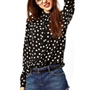 White Polka Dot Black Background Office Lady Style Shirt