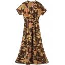 Floral Print Stand-Up Collar Short Sleeve Gathered Waist Dress