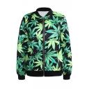Marijuana Leaves Print Green Baseball Jacket