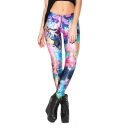 Colorful Cartoon Print Elastic Waist Skinny Pencil Leggings