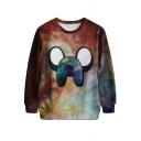 Brown Starry Sky&Cartoon Print Sweatshirt